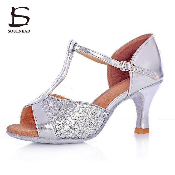2017 Salsa/Tango/ Latin Dance Shoes For Women Open Toe Sliver And Black Sequins Glitter Dames Ballroom High Heels 5cm/7cm