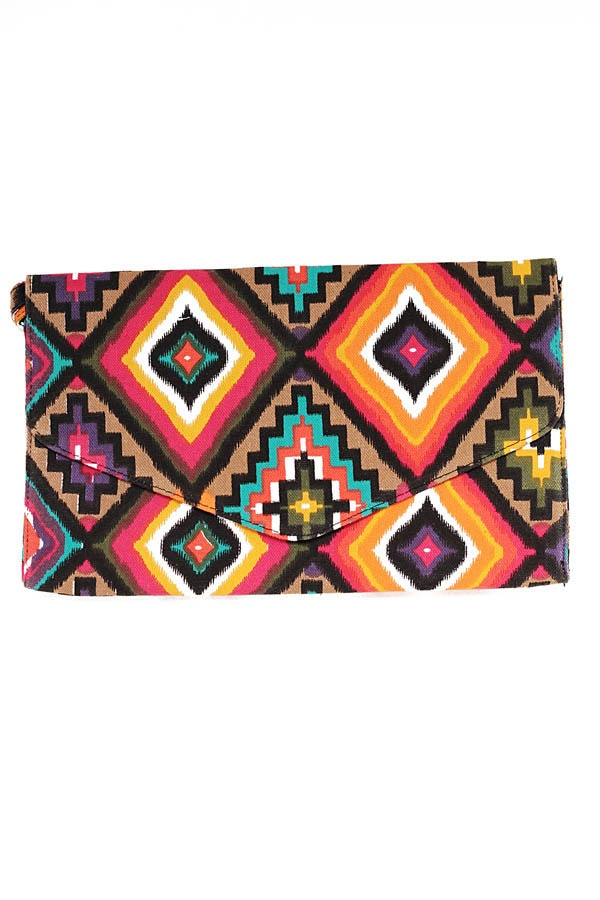 $32Multicolor Ethnic Print Clutch