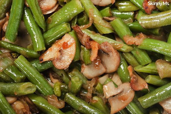 Sauteed Green Beans and Mushrooms. LEAVE OUT THE MUSHROOMS AND USE MORE GREEN BEANS OR ONIONS.
