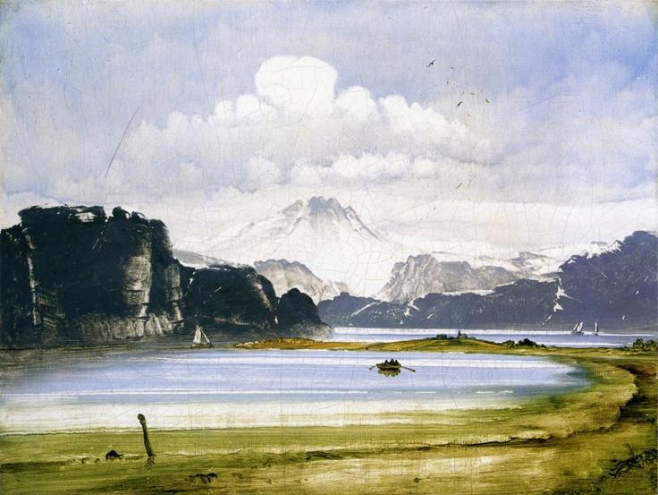 Peder Balke (1804-1887): Paesaggio costiero con fiordo,1860-70