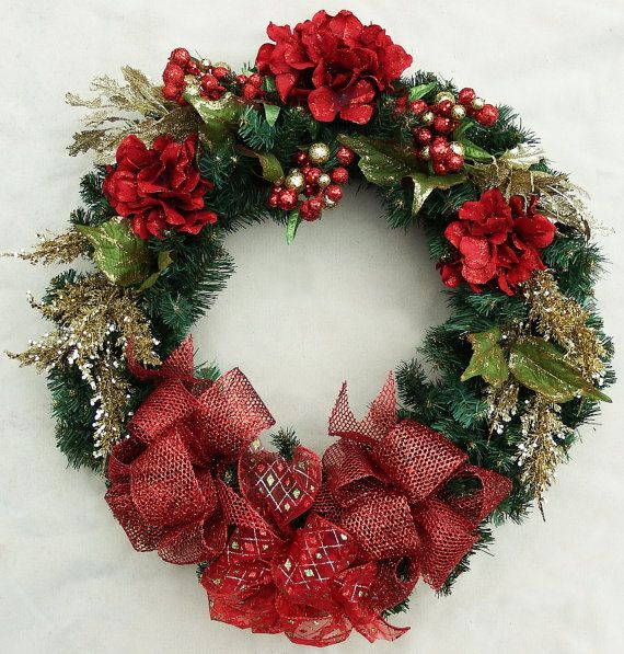 Red Hydrangea Wreath red sparkly bow deco mesh bow red