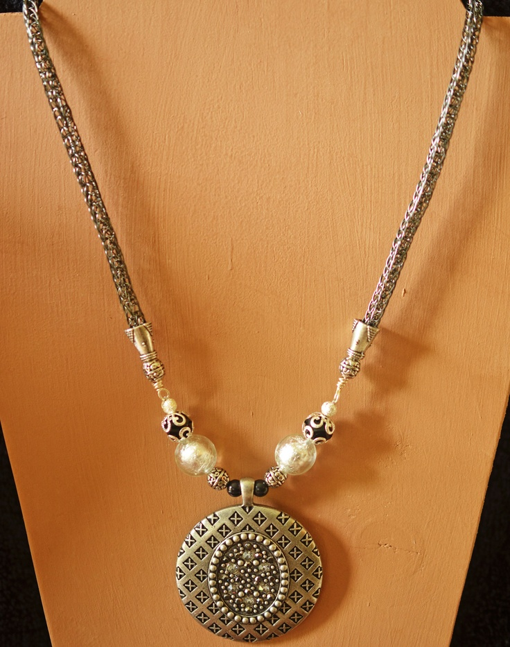 Double Weave Viking Knit Necklace with Pendant.  $38.00  http://creationsbyjennilee.com