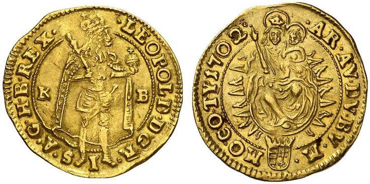 AV Goldgulden. Hungary Coins, Habsburg Rulers, Leopold I. 1657-1705. Kremnitz mint, 1702KB. 3,43g. F 128. Good VF. Price realized 2011: 900 USD.