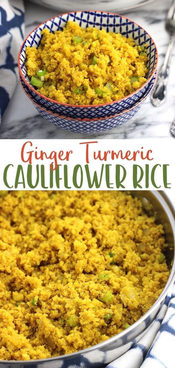 Ginger turmeric cauliflower rice is a healthy side dish that's not lacking in flavor! Fresh ginger, garlic, and turmeric flavor this easy low-carb and lower-calorie recipe. Serve alongside chicken, fish, tofu, or your favorite protein, and top with the herbs of your choice.