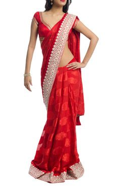 Red saree with  border