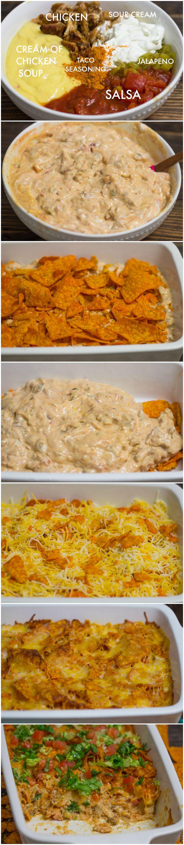 Doritos cazuela de pollo  Autor: Layla Sirve: 8 ingredientes  11 onzas nachos de queso (de cualquier marca) 2 tazas de pollo cocido desmenuzado 1 taza de crema agria 1 taza de salsa o 1 pueden de Ro * Tel tomates y chiles 1 lata de crema de sopa de pollo 8 onzas de queso cheddar rallado 1 cucharada de condimento para tacos Instrucciones  Precalentar el horno a 375F. En un tazón grande, combine el pollo desmenuzado, crema agria, salsa, crema de sopa de pollo, la mitad del queso y de…