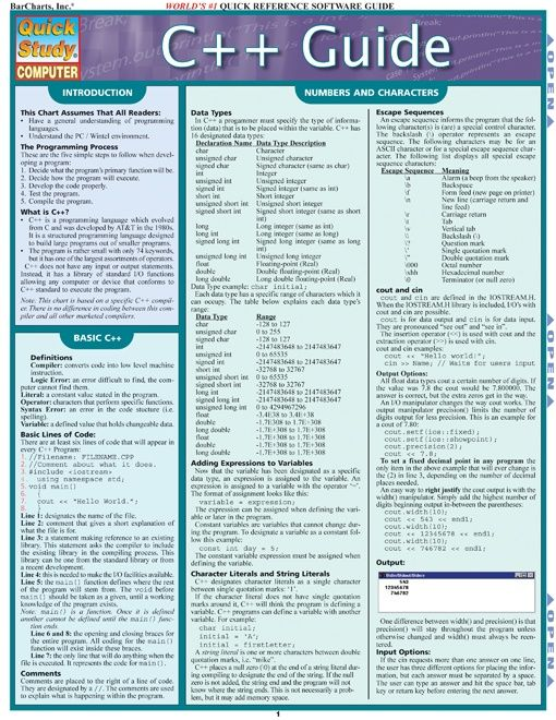 C++ Programming Quick Guide and Cheat Sheet. This is the ultimate guide to C ++ programming language. Our 4-page guide includes detailed information on: numbers and characters, operators, if/else command, arrays, switch statements, loops, functions, sharing variables, and advanced functions. #C++ #programming #programmer #computer #science #apps #cheatsheet #reference #education #college #teacher #teaching