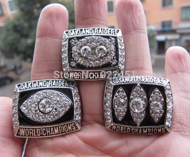 Free Shipping  1976 1980 1983 losangle Oakland raiders super bowl championship ring all three together high quality Wholesale