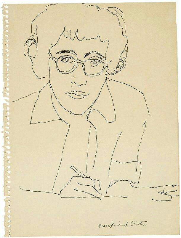 Fairfield Porter (American, 1907-1975),Portrait of Joe Brainard, c.1974. Ink on paper, 11.875 x 9 in.
