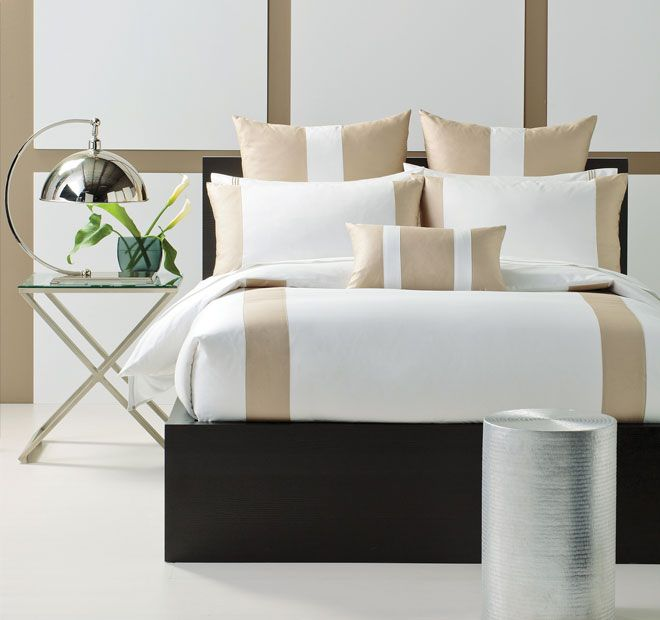 Linen House Boutique Mercer Quilt Cover Set Range Taupe and White
