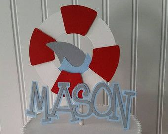 6 boy shark Party Centerpiece Picks shark by PaperedAffair on Etsy