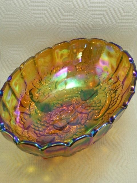 Carnival Glass Fruit Bowl Indiana Glass from chessie-nestor on Ruby Lane