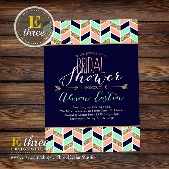 Printable Bridal Shower Invitation Modern by EThreeDesignStudio