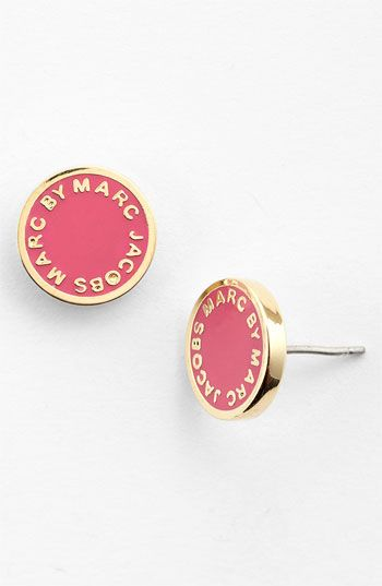MARC BY MARC JACOBS Enamel Logo Disc Earrings available at Nordstrom black and gold pleaseeeee