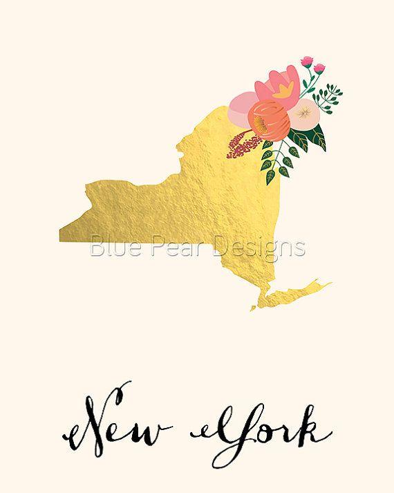 Printable New York Art New York State Map by WhitespaceAndDaisy