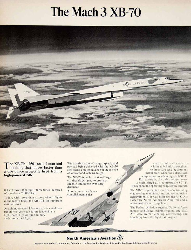 1965 Ad United States North American Aviation XB-70 Aircraft Plane Fly - Period Paper
