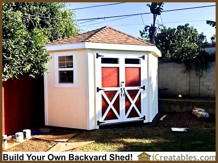 10x10 Hip Roof Corner Backyard Shed Plans By Icreatables Com 10x10 Backyard Corner Hip Icreatablescom P Schuppen Design Schuppen Ideen Gartenhaus Bauen