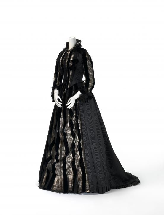 Mourning gown (1885-1890) Artist/s name MME DELBARRE, London (dressmaker) Medium silk (moiré, velvet, satin, lace), cotton Place/s of Execution England Accession Number D74.a-b-1976 Credit Line National Gallery of Victoria, Melbourne