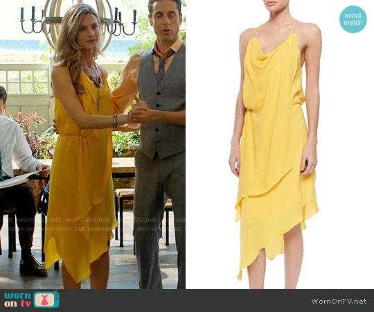 Paige's yellow draped dress on Royal Pains.  Outfit Details: https://wornontv.net/58387/ #RoyalPains  Buy it here: http://wornon.tv/36700