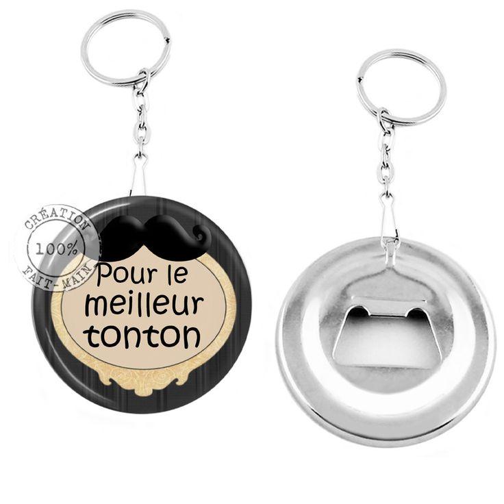Porte clé décapsuleur / cadeau pour le meilleur tonton fond noir : Porte clés par bijoux-martika-creation