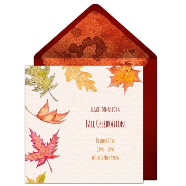Customizable, free Fancy Leaves online invitations. Easy to personalize and send for a fall party. #punchbowl