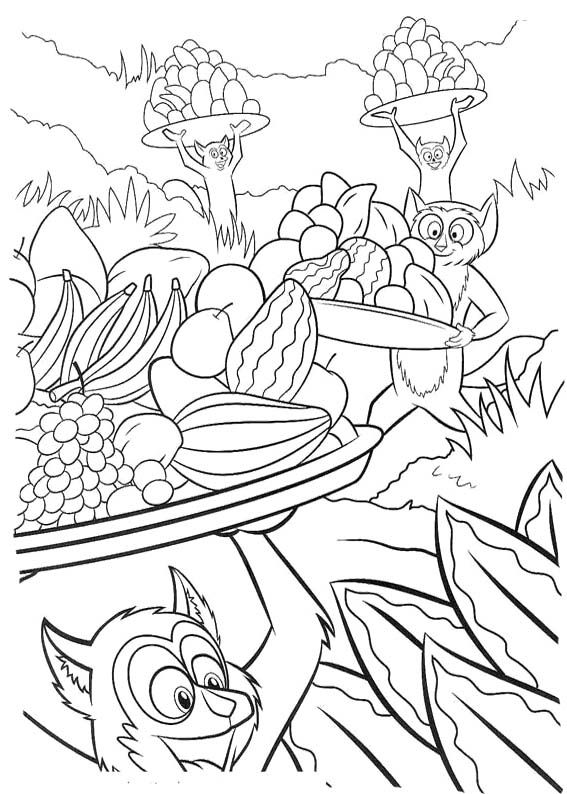 king julien prepare a party coloring page