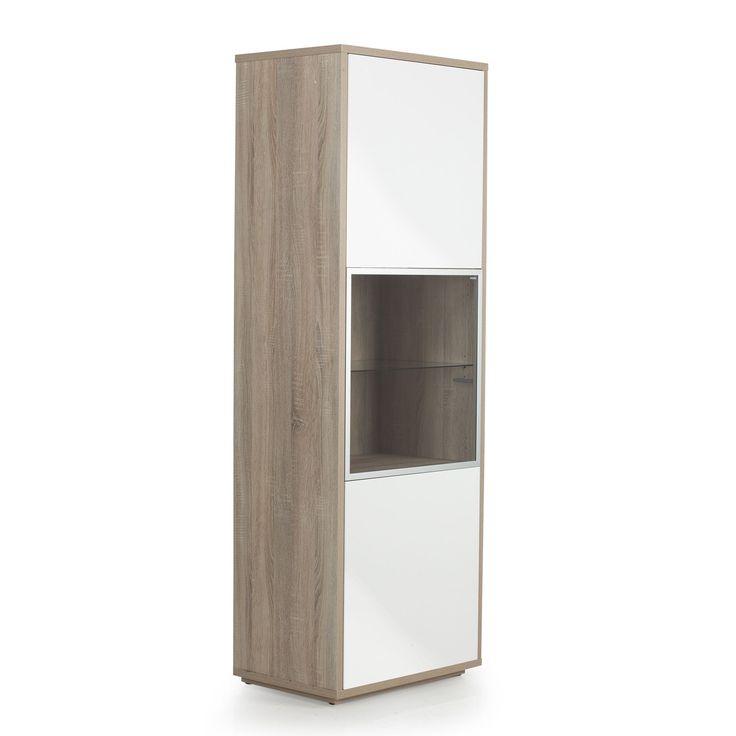meuble colonne fixer au mur 3 portes imitation ch ne blanc checker les biblioth ques. Black Bedroom Furniture Sets. Home Design Ideas