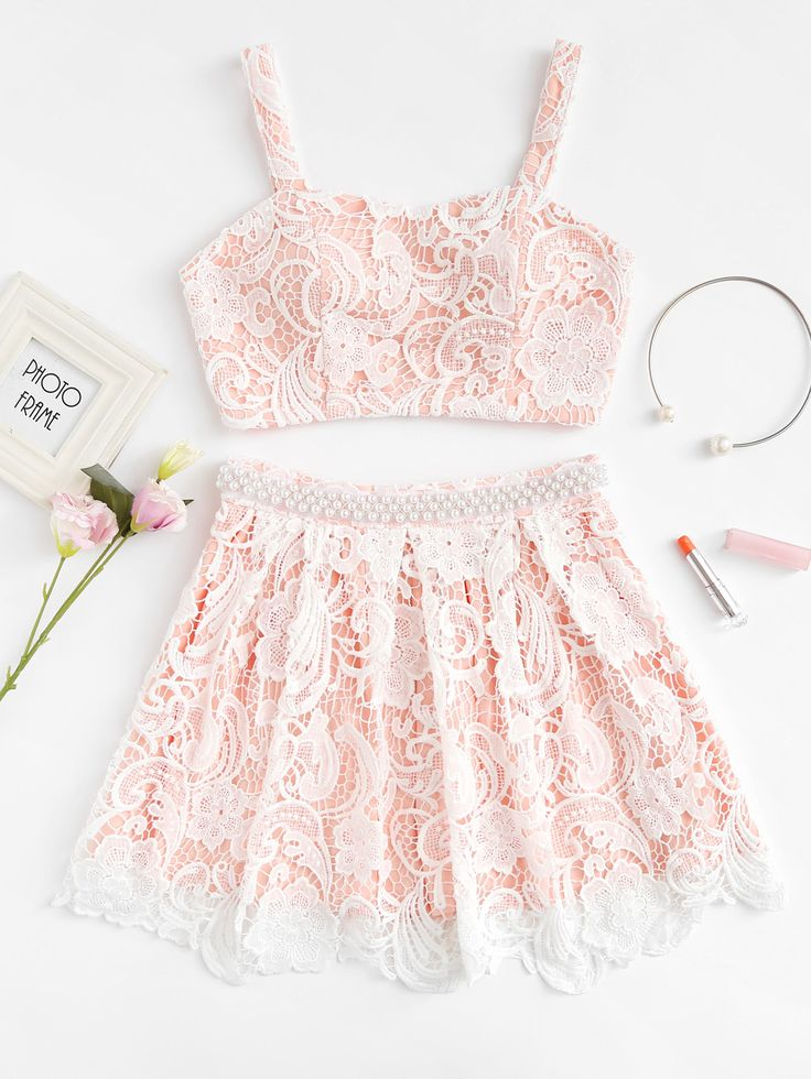 Shop Flower Lace Overlay Crop Top & Beaded Skirt Set online. SheIn offers Flower Lace Overlay Crop Top & Beaded Skirt Set & more to fit your fashionable needs.