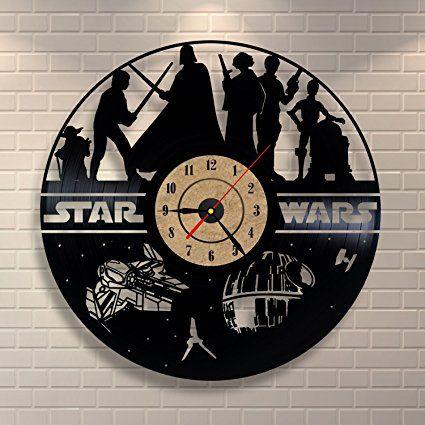 vinile orologio orologio nero Star Wars design camera da letto decorazione da parete