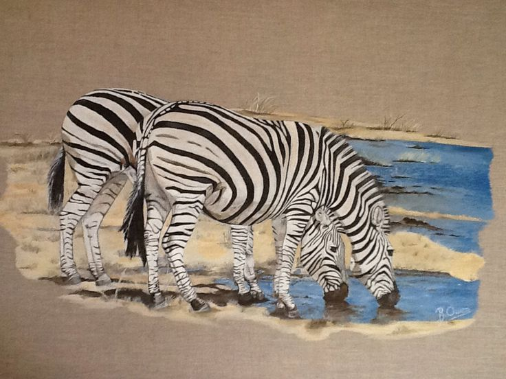 """""""Zebras on the Savannah""""  Acrylic on  Linen canvas  24""""x 36""""  For SALE $750 Ready to hang"""