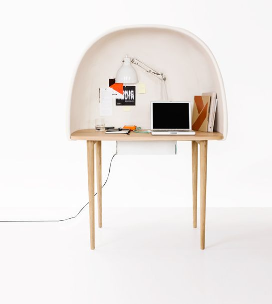GAM FRATESI : REWRITE    Rewrite is thought of as a kind of isolating workingbubble, that can work as a satellitedesk anywhere one can feel the need of concentration and shielding – in open space offices, public spaces or at home. Design Gam Fratesi. (via noquedanblogs)