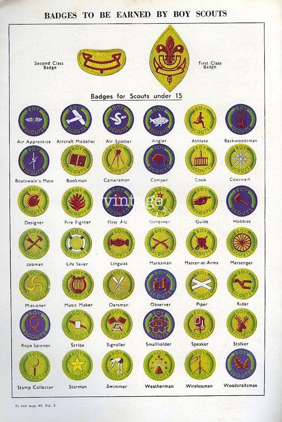 Vintage BOY SCOUT Badges - Merit Badges der BSA bis 1960
