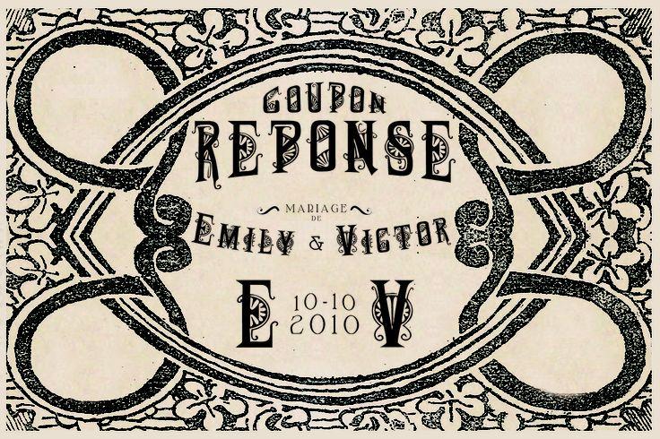 "Coupon reponse MARIAGE style vintage ""1900"" sur WWW.ILOVEYOUPAPER.COM"