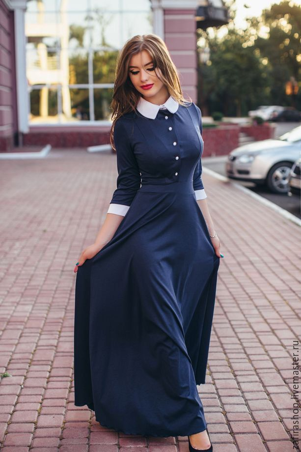 Купить Платье с воротником - разноцветный, однотонный, платье в пол, платье макси, длинное платье