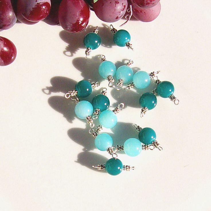 Connecteurs mixte perles glass bleu turquoise bleu vert