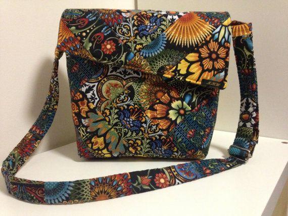 Handgemaakte handtas met schouderband in mooie herfstkleuren