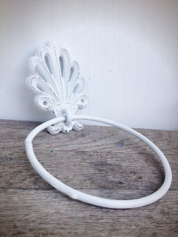 BOLD bright white ornate shell bathroom towel ring // by BOLDHOUSE, $14.00