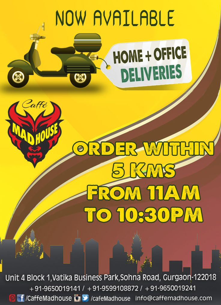 Why cook when you can get it delivered? Call Caffe Mad House​ any time for delicious delicacies...  #homedelivery #takeaway