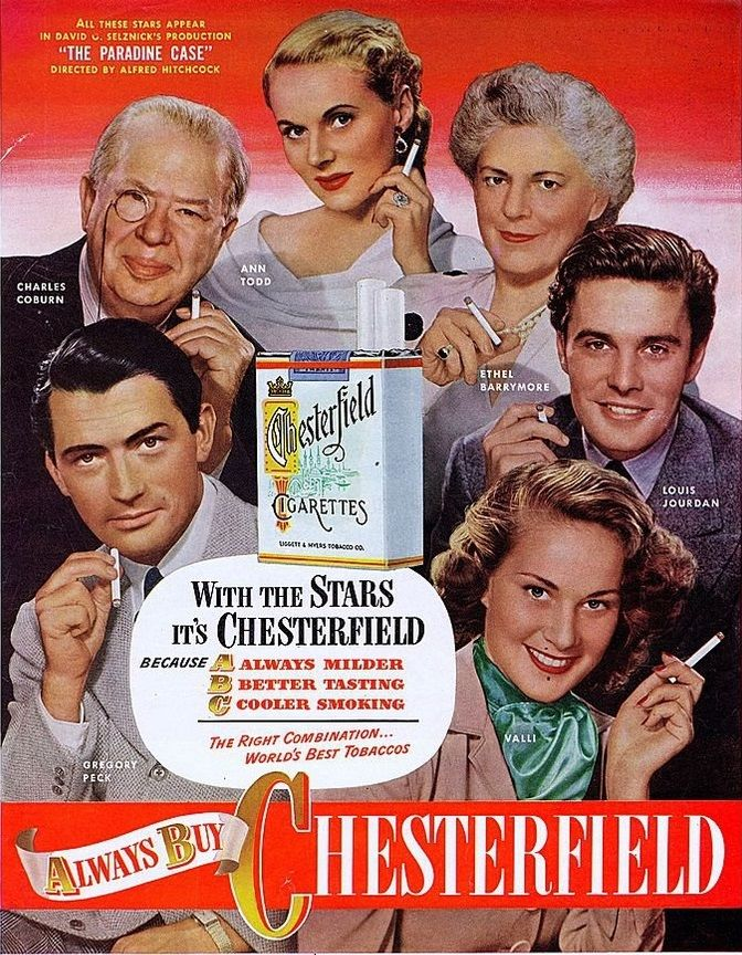 Charles Coburn, Ann Todd, Ethel Barrymore, Louis Jourdan, Gregory Peck and Valli for Chesterfield Cigarettes Ad