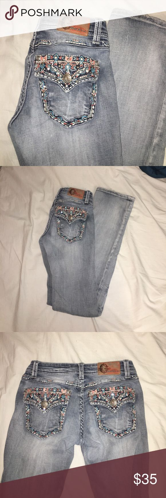 Grace LA Bootcut Bling Jeans Super pretty Grace LA Jeans. Bootcut! Perfect to wear to fairs and shows. Also perfect to wear dancing!! Little to no damage! Very similar to Miss Me Jeans Grace Jeans Boot Cut
