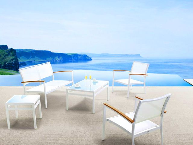Mondecasa Mediterranean Outdoor Sling Seating with Glass Top Coffee Table & End Table