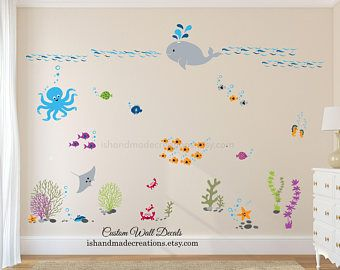 sale nursery under the sea wall decal nautical wall sticker wall mural for kids playroom wall art ocean wall decals