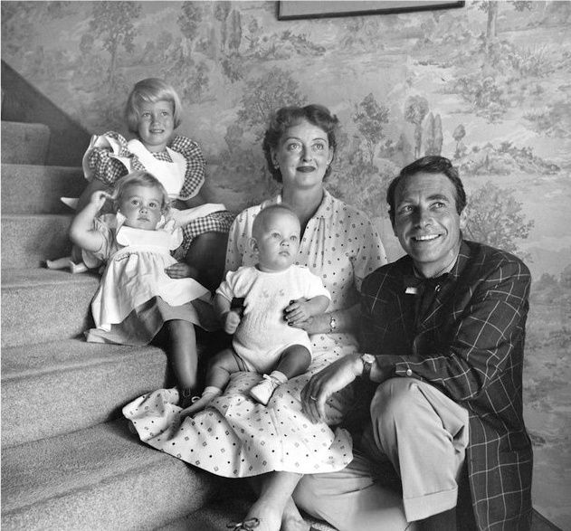Bette Davis with her husband, [and costar in 'All About Eve] Gary Merrill, and kids.