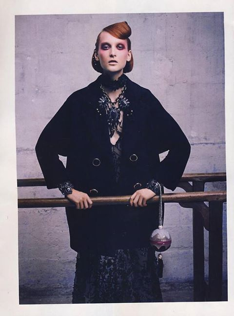 Black double breast Anna Rachele coat with jewellery buttons as featured in the October 21 issue of Italian IO DONNA