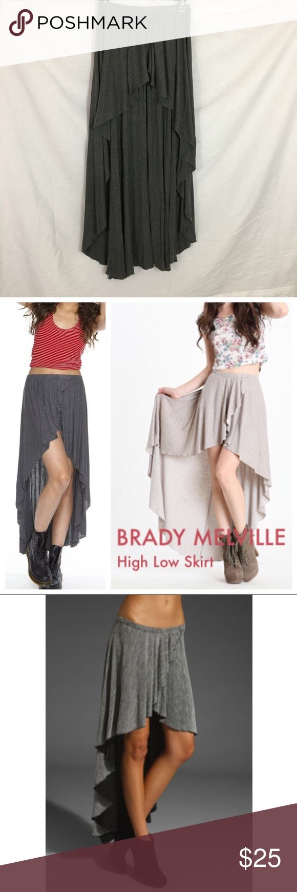 Brandy Melville Cameron Hi Low Maxi Skirt Gray hi low maxi skirt from brandy Melville! In used condition! Perfect for spring and summer!! Brandy Melville Skirts High Low