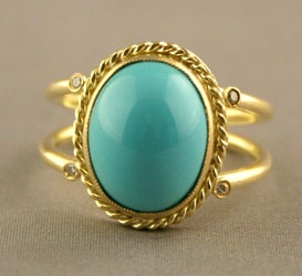 Gold, Turquoise & Diamond Ring