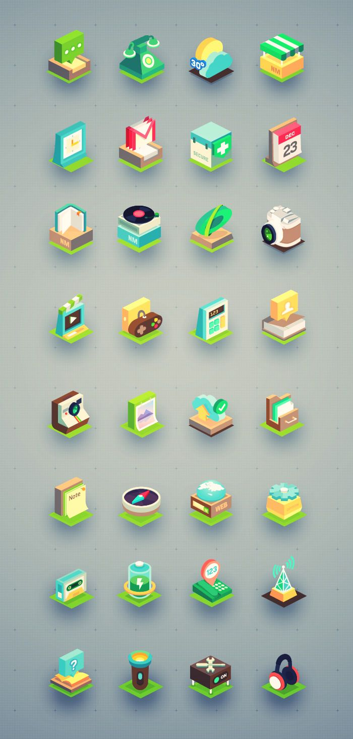 Beautiful Isometric icon set (32 icons)