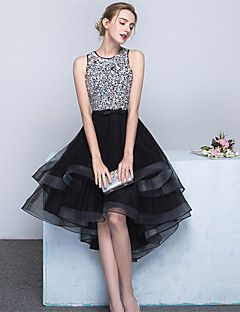 Cocktail Party Dress Ball Gown Jewel Asymmetrical Satin / Tulle with Beading / Bow(s) / Sash / Ribbon – USD $ 255.00
