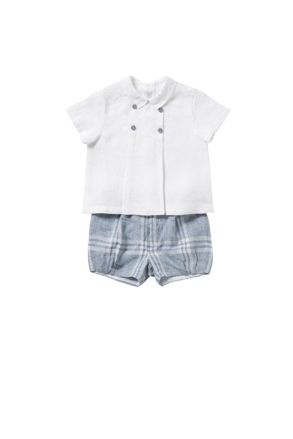 Italian Luxury TWO-PIECE OUTFIT IN WHITE AND AZURE LINEN   Il Gufo