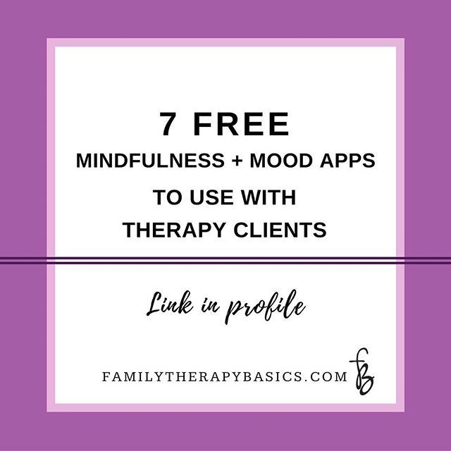 This week's post on the Family Therapy Basics blog is about supporting you as you do your work. I discuss 7 free apps that can help clients daily as they work with you in therapy. 📱|| Link in profile. 💜